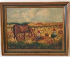 L.R. Engel Signed & Framed Field Farm