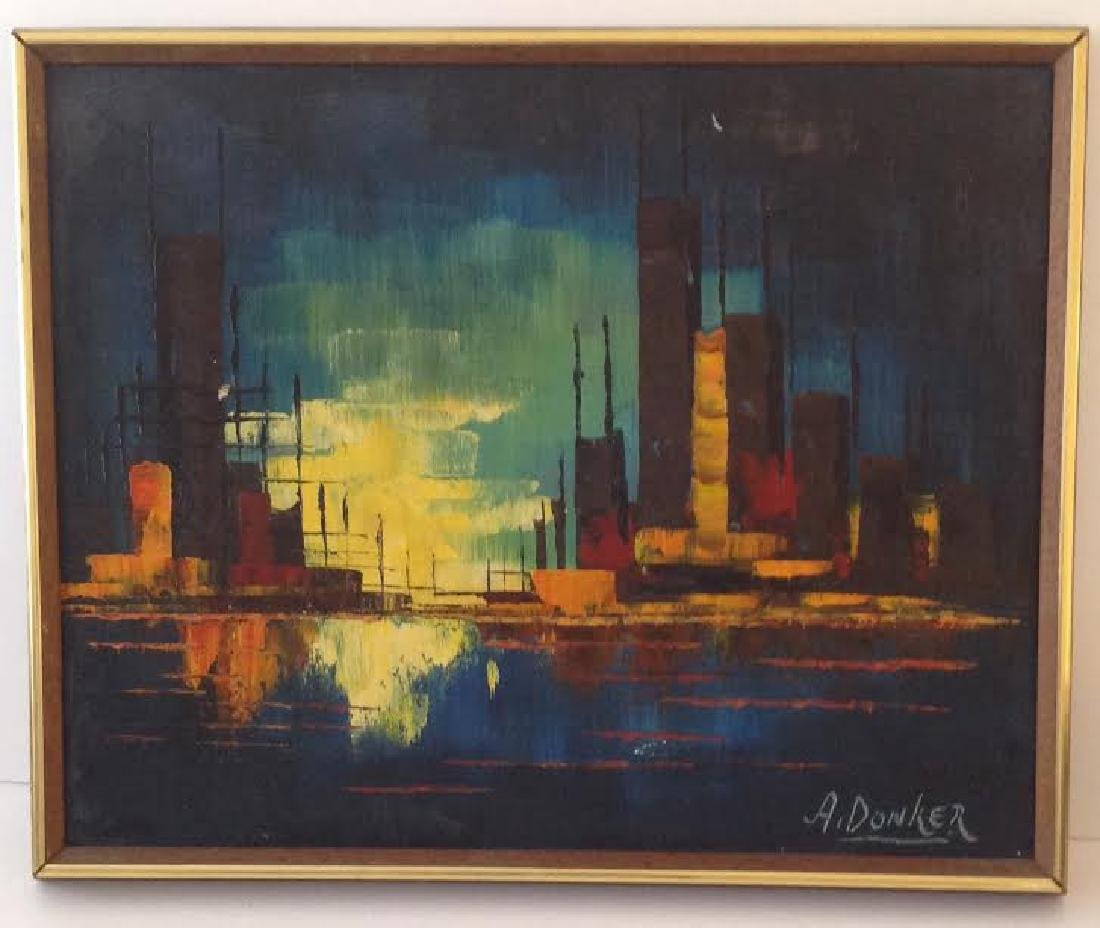 Signed A. Donker Cityskyline Oil Painting