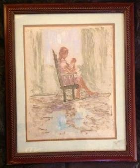 Signed Mother & Child Tempera Painting, 1969