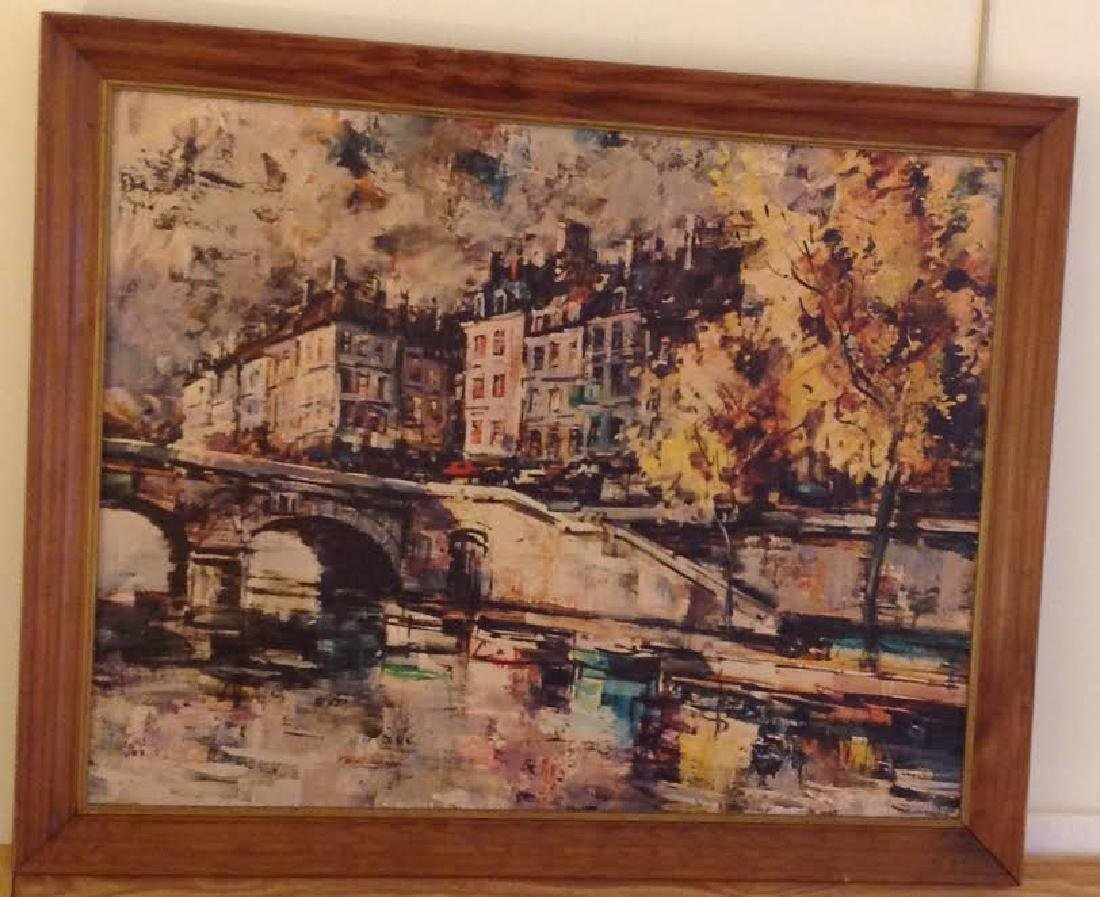 Signed J Warner Townscape Oil Painting