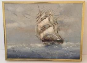 Signed & Framed Oil Painting Of Sailing Boat