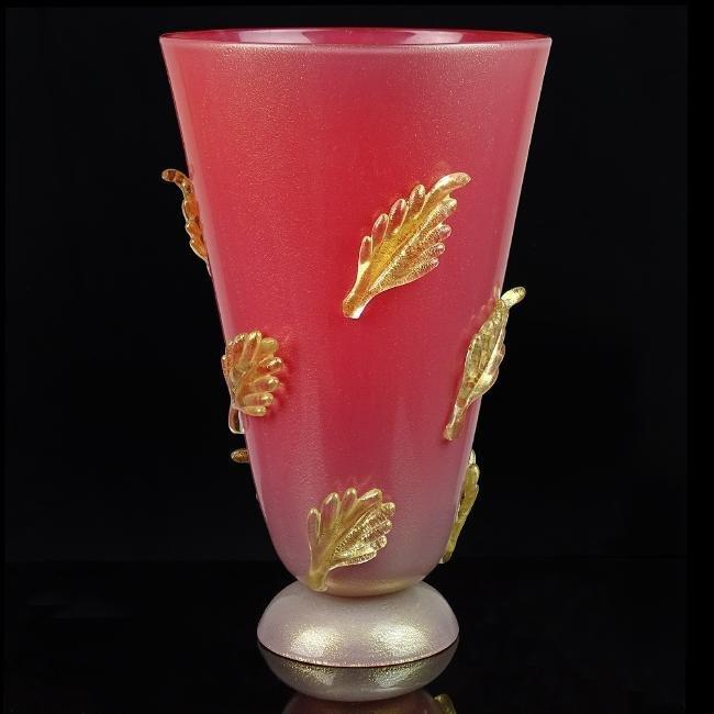 Murano Incamiciato Gold Leafs Art Glass Vase