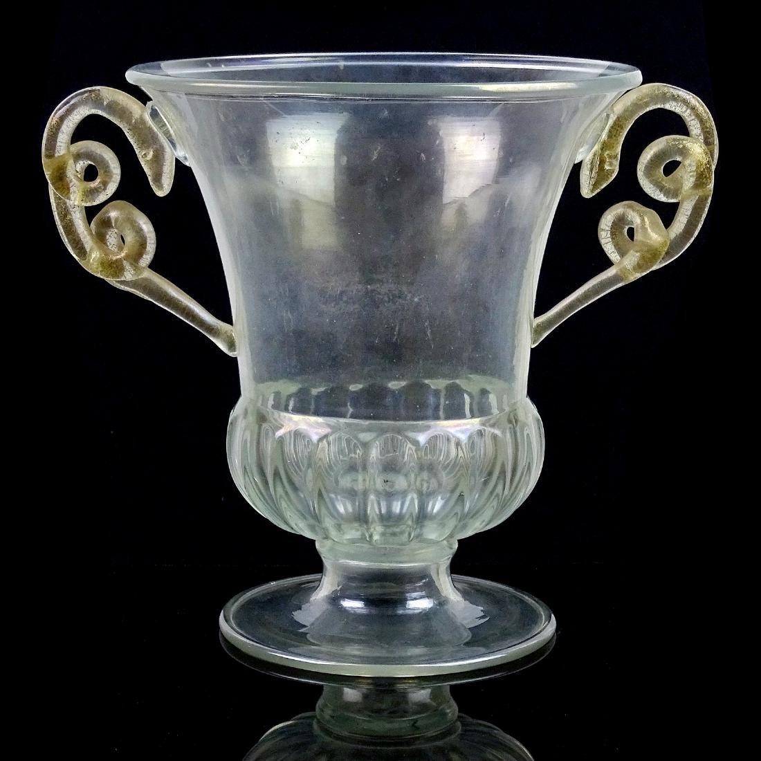 Paolo Venini Murano Iridescent Gold Snakes Trophy Vase