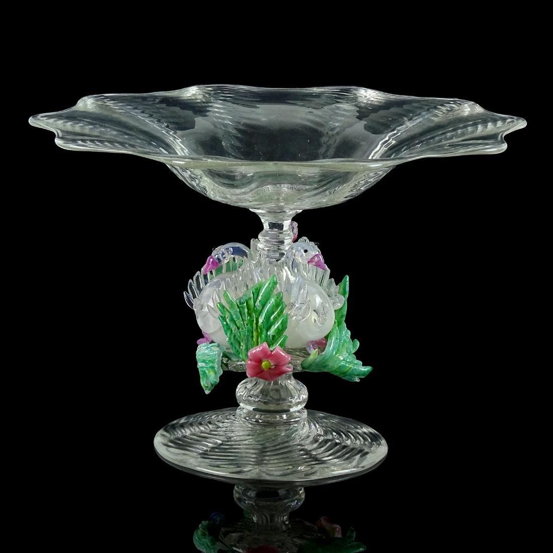 Salviati Venetian Opal Swans Art Glass Compote Bowl