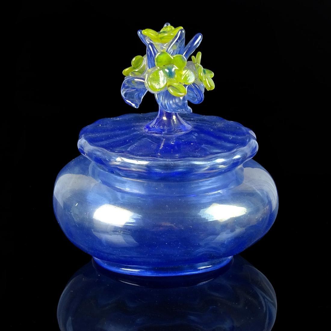 Murano Antique Blue Iridescent Art Glass Flower Jar