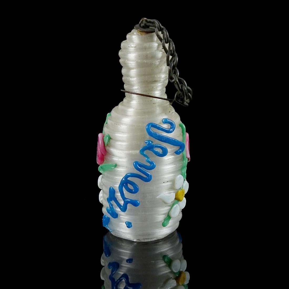Venetian Opal Iridescent Spun Art Glass Scent Bottle