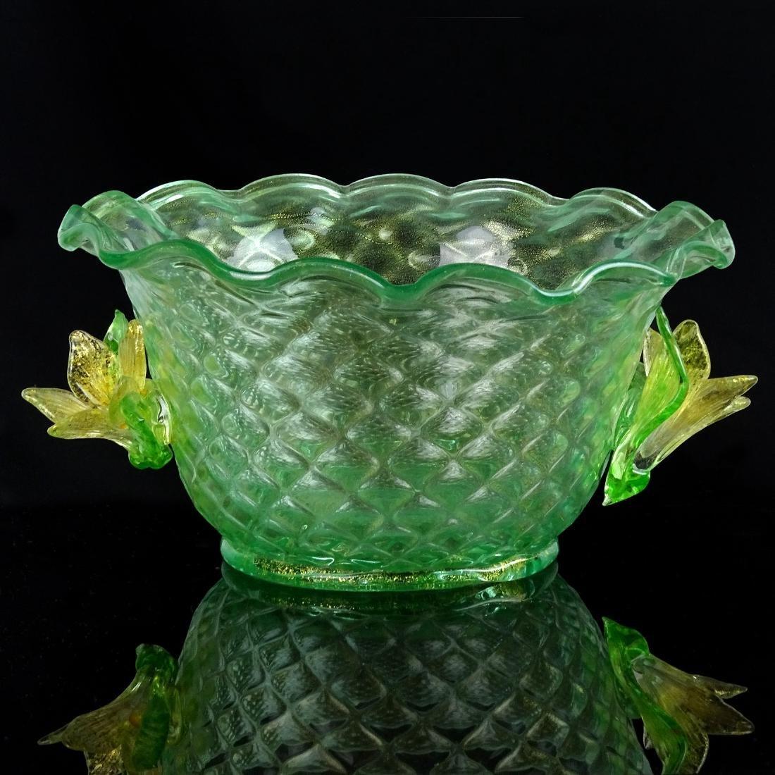 Artisti Barovier Murano Green Yellow Flowers Glass Bowl