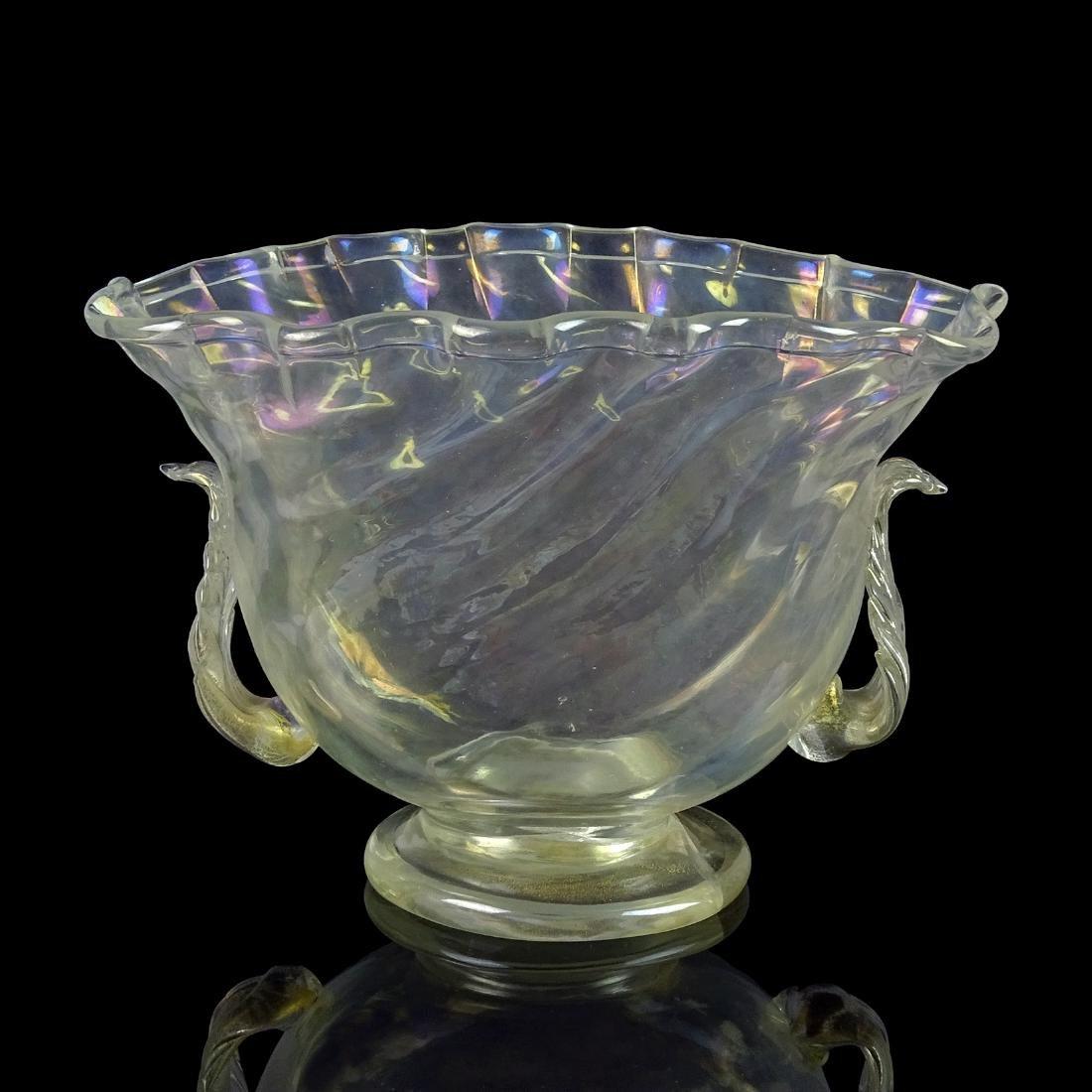 Murano Antique Iridescent Gold Flecks Flower Vase