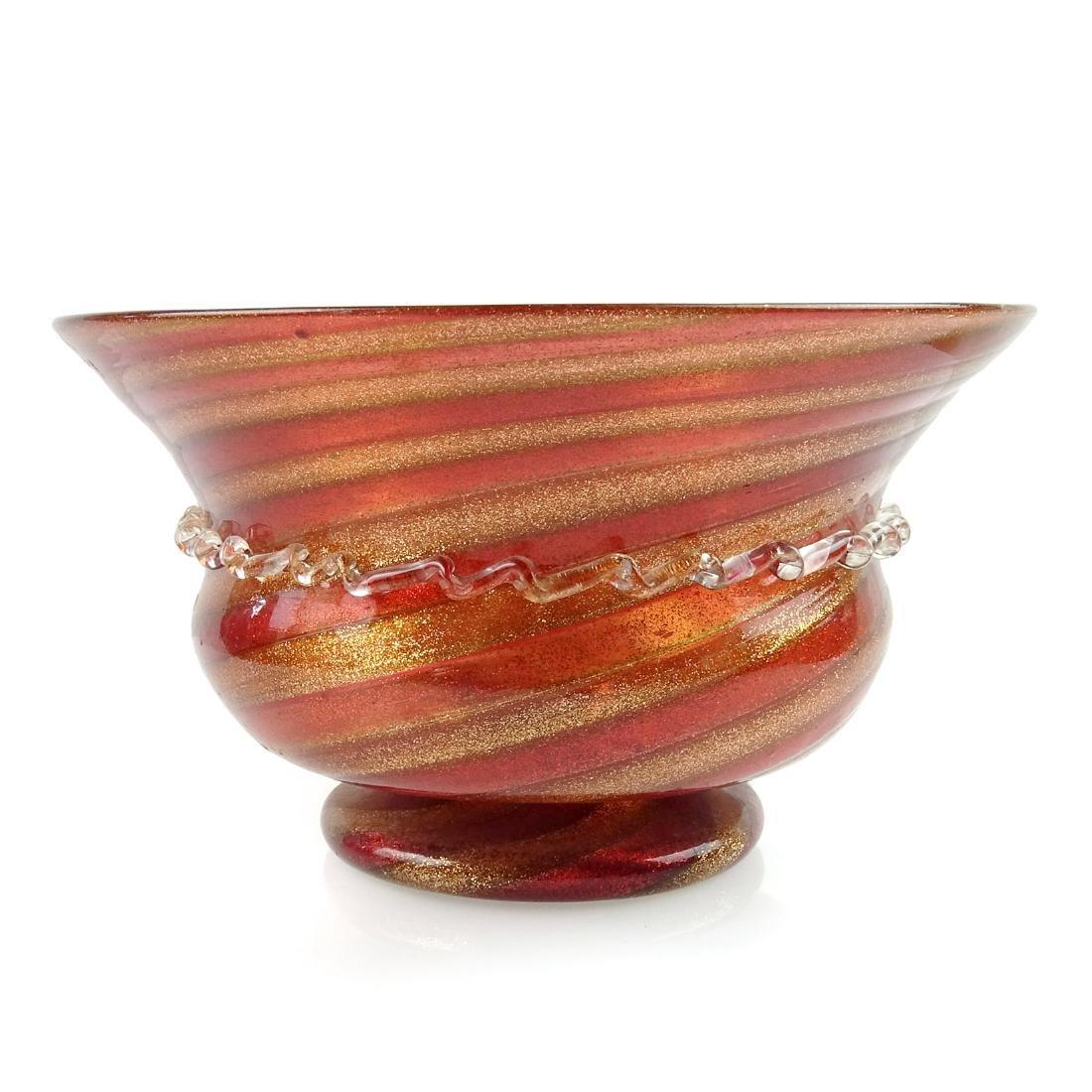 Salviati Venetian Red Aventurine Glass Footed Bowl