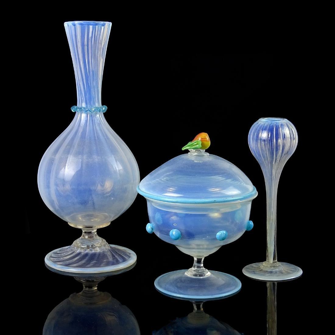 Salviati Venetian Opal Blue Art Glass Vases and Jar