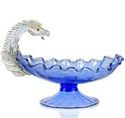Venetian Blue Gold Flecks Pegasus Glass Compote Bowl