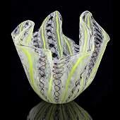 Venini Murano Yellow Purple White Fazzoletto Vase