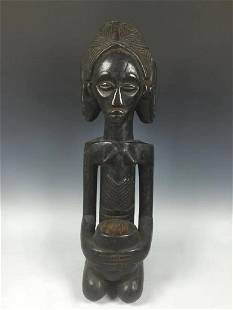 Vintage African Art Baule Statue 4 Faces Ivory Coast