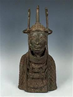 African Art Benin Bronze Warrior Head from Nigeria