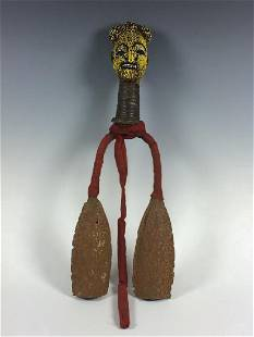 Vintage African Art Beaded Bamileke Gong from Cameroon