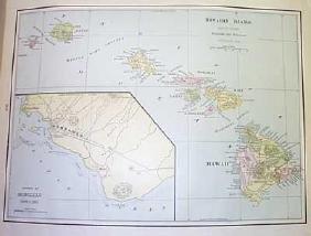 Hawaiian Islands Map, George Cram, 1905