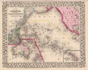 Map of Oceanica's Various Islands Map, Mitchell, 1870