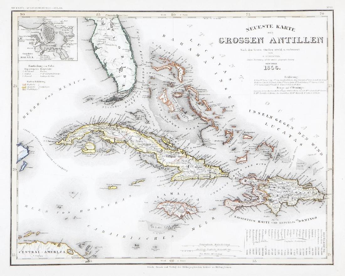 Cuba To Florida Map.Cuba Hispaniola Jamaica Florida Map 1856