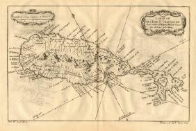 l'Isle St. Christophe Caribbean Map, Bellin, 1758