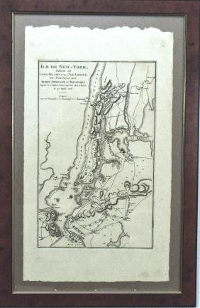 Antique Map Shows New York City in 1776, Marshall, 1807