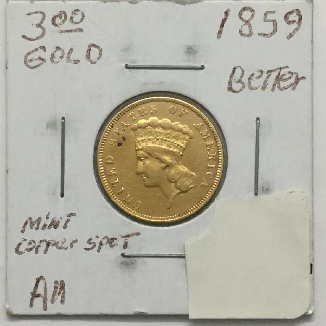 1859 $3 Princess Copper Spot Original Coin