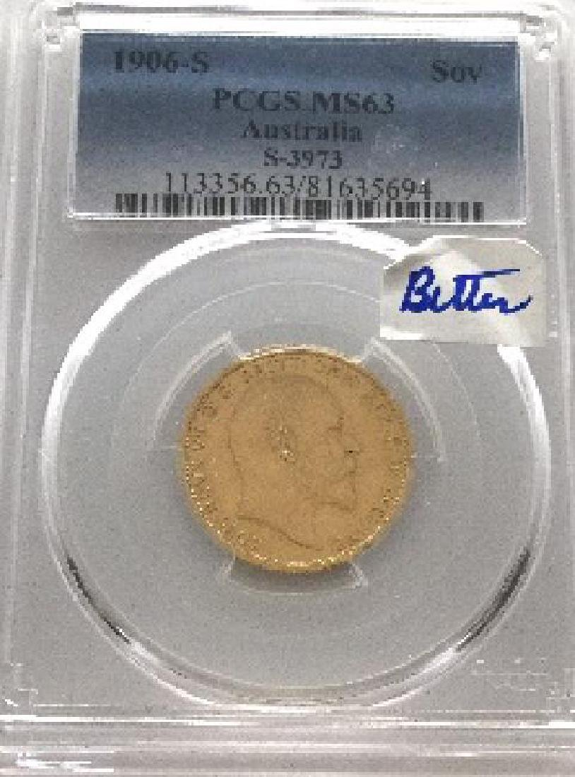 1906-S Australia Sovereign PCGS MS63 Extremely Rare