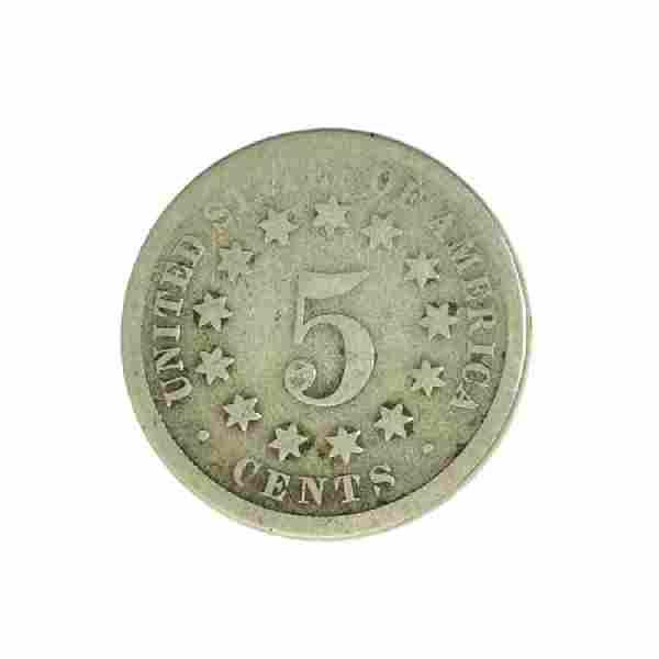1868 Shield Nickel Coin