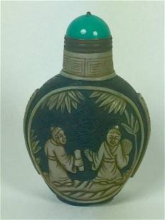 Chinese Qing Dynasty Overlay Peking Glass Snuff Bottle