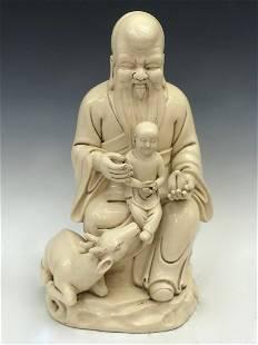 Chinese Blanc de Chine Longevity & Child Porcelain
