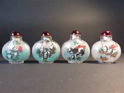 4 Chinese Reverse Painted Snuff Bottles