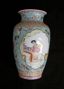 Chinese Qianlong Style Famille Rose Vase