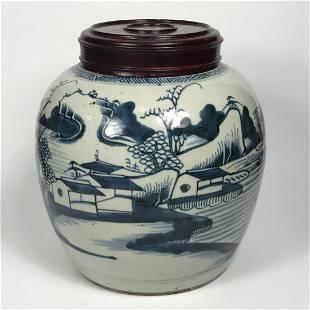 Chinese Qing Dynasty Porcelain Blue & White Jar