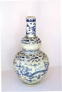 Chinese Dragon Cloud Blue & White Vase, Ming Period