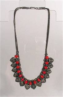 Chinese Minority Tribe Silver Bead Necklace
