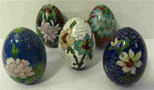 Set of 5 Chinese Cloisonne Egg Shaped Paperweights