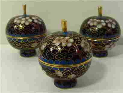 Set of 3 Chinese Cloisonne Trinket Boxes