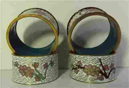 Set of 4 Chinese White Cloisonne Napkin Rings