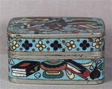 Chinese Scholar Cloisonne & Paktong Box, 19th C