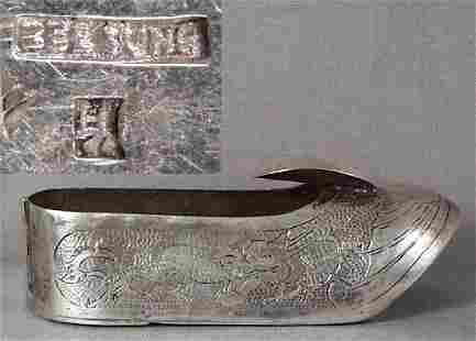 Chinese Silver Export Ashtray Hallmarked, 19th C