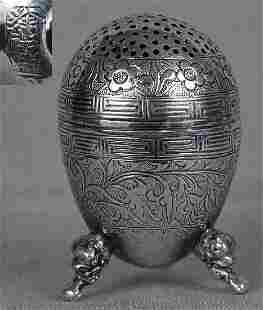 Chinese Export Silver Salt Dragon Feet Marked, 19th C