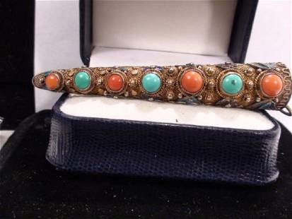 Chinese Gold Vermeil Turquoise Coral Nail Guard/Brooch