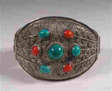 Chinese Silver Filigree Turquoise & Coral Bracelet