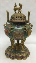 Chinese Bronze & Cloisonne Incense Burner