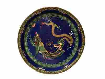 Chinese Folk Copper Cloisonne Enamel Plate