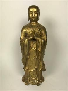 Chinese Qing Dynasty Bronze Gold Gilt Standing Buddha