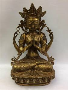 Chinese Large Bronze Sitting Quanying Statue