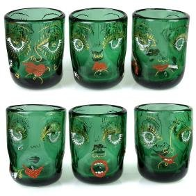 Anzolo Fuga Murano Enamel Gold Gilt Faces Cups Set