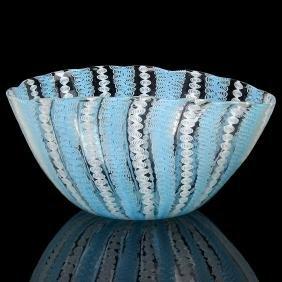 Murano White Blue Zanfirico Ribbons Art Glass Bowl