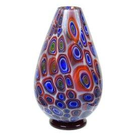 Vistosi Murano Opalescent Eye Murrines Art Glass Vase