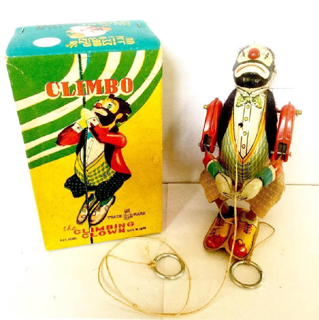 "Tin Climbing Clown ""CLIMBO"" Pull the String Toy"